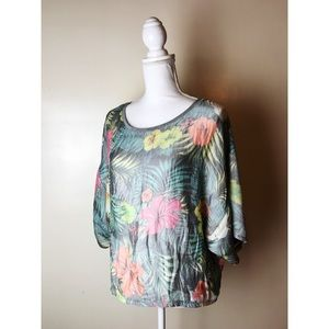 Zara • Tropical Blouse